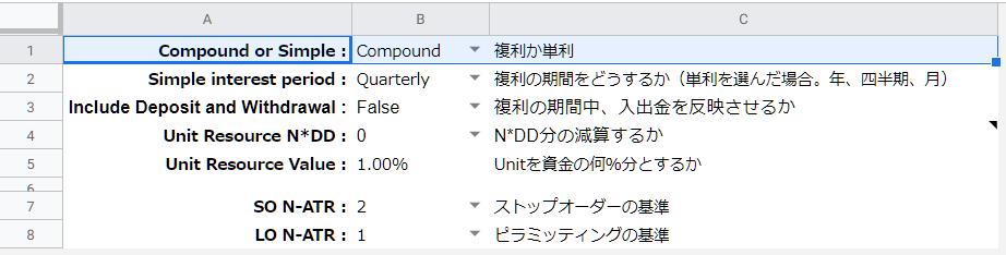 初期設定項目「Compound or Simple」